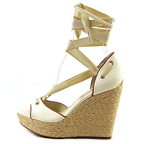 Michael Kors Womens Lilah Wedge Canvas Shoes Natural prvEdZ