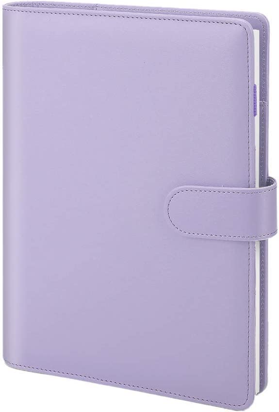 A6 Leather Notebook Binder with Lined Page, Refillable Writing Journal, Personal Organizer Notebook 6 Ring Binder Diary with Zipper Pocket for Men and Women(5.1 X 7.4 inch, Purple)