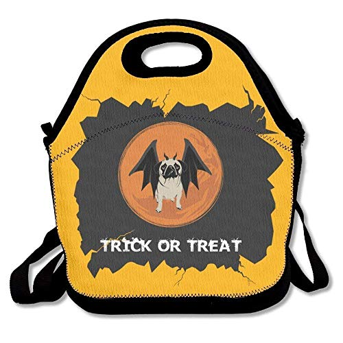 Trick Or Treat Halloween Funny Pug Lunch Bag Tote Handbag Lunchbox For School Work Outdoor for $<!--$9.69-->