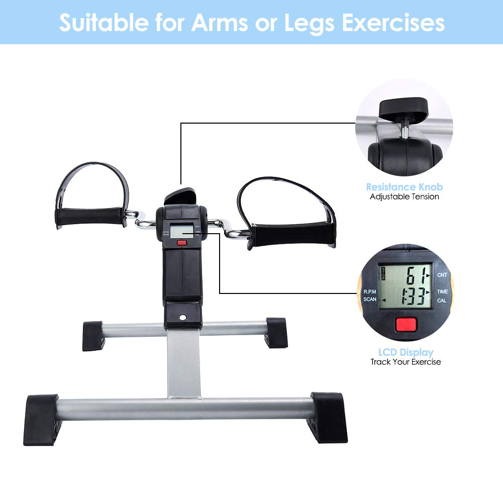 SYNTEAM Foldable Pedal Exerciser with LCD monitor bike exercise machine for Seniors-Fully Assembled, No Tools Required(Black) by Synteam (Image #4)