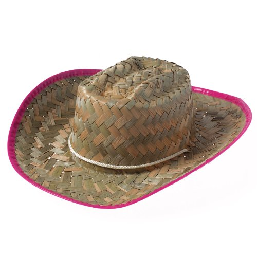 Cowgirl Hats - Straw Cowboy Hat for Girls with Pink Trim - Cowboy Costume Hat