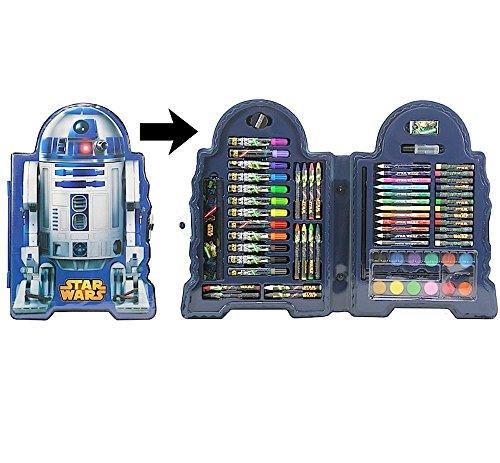 72 tlg. - großer Malkoffer - STAR WARS - Motiv: R2-D2 - Malset - zum basteln oder malen / Filzstifte / Wachsmalstifte / Buntstifte / Schreibset + 9 Metallic Star Wars Sticker