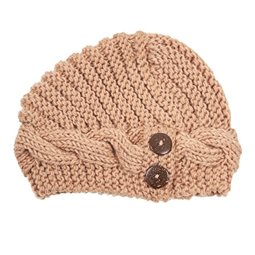 Pronto New Acrylic Button Accented Warm Beanie (LK180) (TAN)
