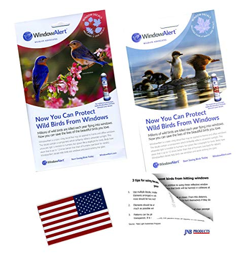 WindowAlert Static Window Cling Decals - Bird Strike Deterrent Silhouettes Bundle Includes 9 UV Reflective Maple Leaf and Leaf Medley Plus USA Flag Decal and Tips Card]()