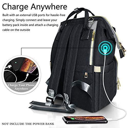 Large Capacity Waterproof Stylish and Durable HowiseAcc Nappy Changing Backpack Multi-Function Travel Backpack Organizer with Bottle Insulated Bags for Baby Care Diaper Tote Bag