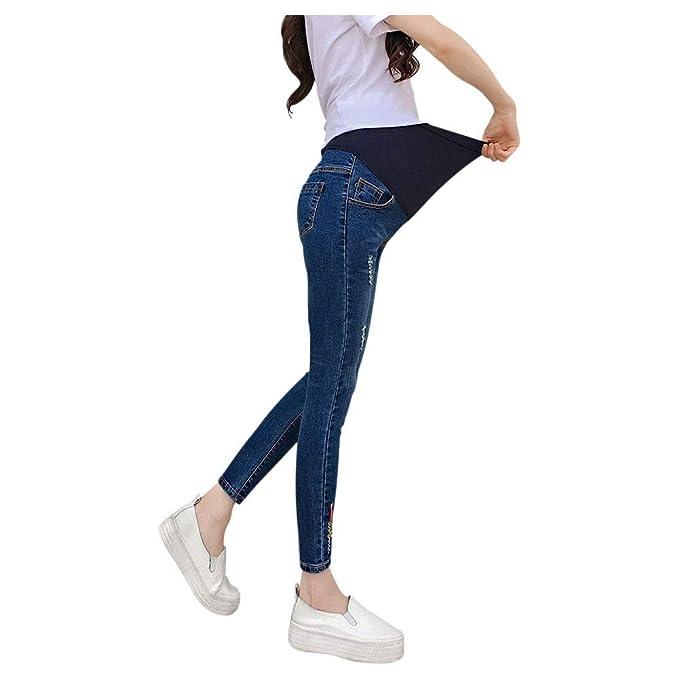 3fe855966 Goyajun Jeans Maternidad - Mujer Embarazo Skinny Flaco Suave Pantalones de Mezclilla  Elásticos Banda de Cintura Ajustable Cómoda Cuidado Casual Legging  ...