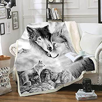 HOME Gray Wolf Blanket Comfort Warmth Soft Cozy Air Conditioning Machine Wash Black and White Rose Skull Sherpa Fleece Blanket (Throw 60