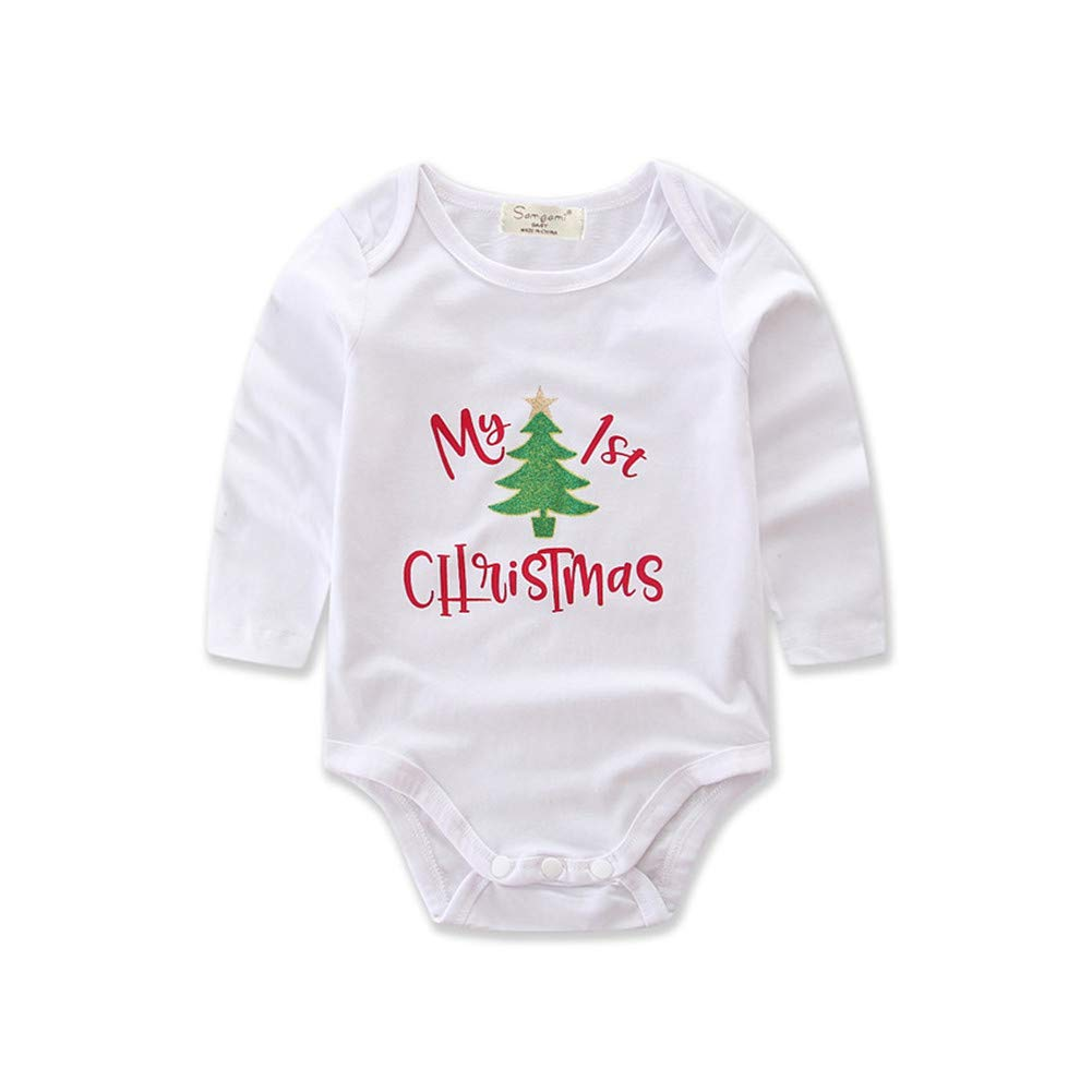 EsTong Baby Girls My First Christmas Romper Outfit Leg Warmer Bow Headband 3 Pcs Clothes Set
