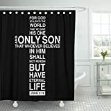 VaryHome Shower Curtain Black Church Christian Cross with Bible Verse Scripture Backgrounde Waterproof Polyester Fabric 72 x 72 inches Set with Hooks