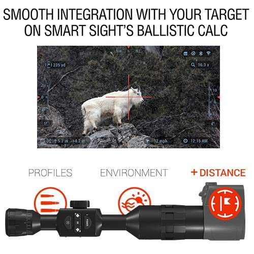 ATN Auxiliary Ballistic Smart Laser Rangefinder w/Bluetooth, Device Works  with Mil and MOA scopes Using Ballistic Calculator App