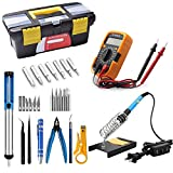 HomEnjoy 20 in 1 Soldering Iron Kit Electronics 60W 110 V-Adjustable Temperature Soldering Iron with digital multimeter, 5pcs Soldering Iron Tips, Desoldering Pump, Wire Stripper Cutter, Tweezer, Sold