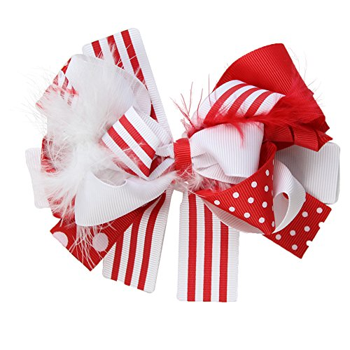 juDanzy Large Red and White Christmas Holiday Hair Bow Clip for Girls