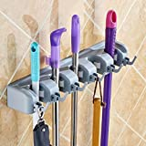 Aluminum Wall Rack Wall Mounted Mop Broom Holder And Hanger Rack Kitchen Storage Tool Holder, 4 Position With 5 Hooks (aluminum)