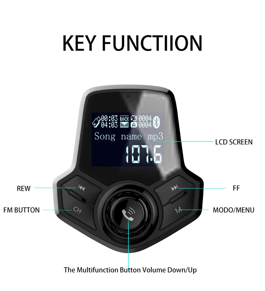 "1.44/"" Screen Hands-Free Calling TF Card Bluetooth FM Transmitter Car Kits Wireless Radio Adapter Support USB Dual USB Car Charger for All Smartphones Audio Players AUX Input /& Car Battery Read Generic HY91"