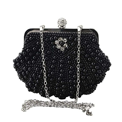 Bags Mini borsa Borse serata republe Messenger Clutch Nero Glitter rilievo cristallo Hasp strass in Weding Shell xq6A7