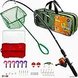 Play22 caña de pescar para niños – 40 juegos de cañas de pescar – Varillas de pesca para niños incluye aparejos, equipo de pesca, señuelos de pesca, red, bolsa de transporte, equipo de pesca completo – para niños y niñas
