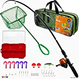 Play22 Fishing Pole For Kids - 40 Set Kids Fishing Rod Combos - Kids Fishing Poles Includes Fishing Tackle, Fishing Gear, Fishing Lures, Net, Carry On Bag, Fully Fishing Equipment - For Boys And Girls