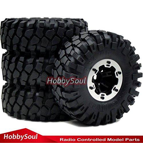 4wd Tires Wheels (4pc 2.2 Rock Crawler Tires Tyre 139mm & 2.2 Beadlock Wheels Rim Fit RC 4WD Axial)