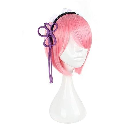 YY1 Disfraz de sirvienta con peluca rosa Peluca de cosplay peluca linda del animado para Ram