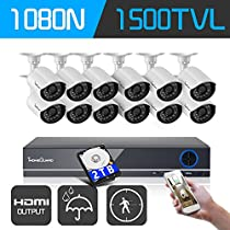 IHOMEGUARD 16-Channel HD DVR Security System 1080N Recorder with 12 1MP IR Night Vision Outdoor Weatherproof Bullet Cameras, 2TB Hard Drive and Remote Surveillance