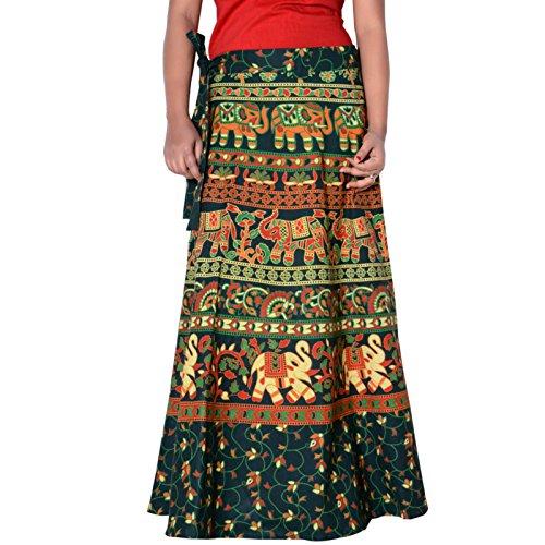Around Length D4 Sttoffa Skirt Rajasthani Wrap inch 40 Green q4OqwxZa