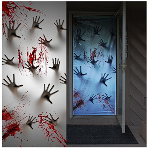 Window Decorations Halloween (Joiedomi Halloween Haunted House Decoration Window Door Cover Zombie Hands 72X30 Inches)