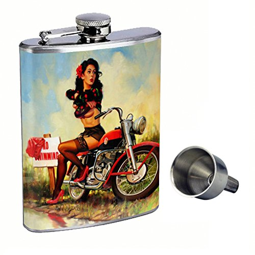 激安価格の Pin Up Girl Free Girl Perfection inスタイル8オンスステンレススチールWhiskey Flask Perfection with Free Funnel d-181 B015QNA53C, 三角町:cf3c38ae --- domaska.lt