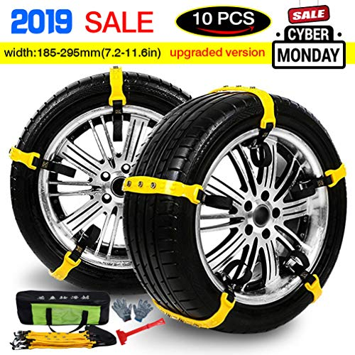 Tire Chains Anti Slip Snow Chains Adjustable Anti-skid Emergency Snow Tire Chains...