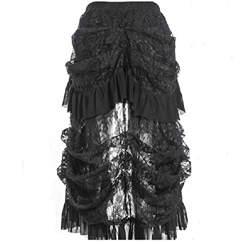 RGA Womens Steampunk Elastic Skirt Black Solid Color Victorian Gothic Banquet Bird Tail Lady Floral Lace Swing Party Outfits (M(Waist 70-76cm)) (Skirt Silk Ruffle)
