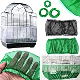 cyclamen9 Bird Seed Guards Cage Seed Guard, Catchers Bird Cage Tidy Bird Cage Mesh Net Cover Skirt,Soft Nylon Skirt with Adjustable Drawstring (L,Black)