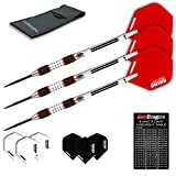 Red Dragon Evos: 28g - 90% Tungsten Steel Darts with Winmau Rhino Red Flights, Shafts, Wallet & Red Dragon Checkout Card
