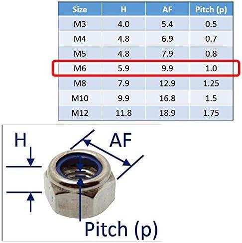 M3 M4 M5 M6 M8 M10 M12 316 25, M12 Nyloc Nuts Stainless Steel A4-Marine Grade