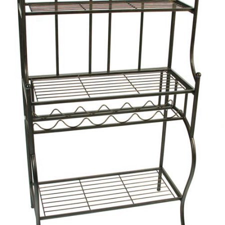 Bakers Rack in Unique Black and Gold Finish, Durable Metal Construction, Built-in Wine Rack Holds up to 6 Bottles
