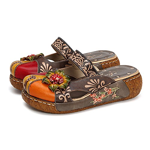 gracosy Womens Colorful Leather Slipper Backless Slip Ons Vintage Handmade Flower Boho Platform Flat Sandals Mule Clogs Shoes