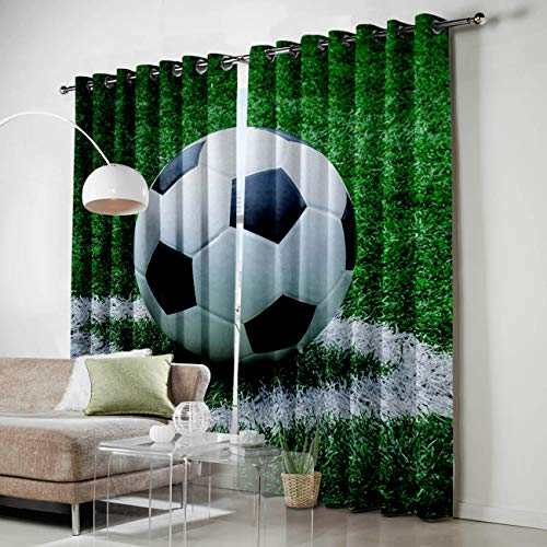 Grommet Window Panel Curtain Set, Room Décor Curtain Drapes for Living Room Dining Bedroom - Sport Decor Football,Each 52 by 96 Inch,Set of Two ()