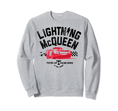 Unisex Disney Pixar Cars 3 Lightning McQueen Ready Sweatshirt Large Heather Grey (Disney Cars Shirts For Adults)