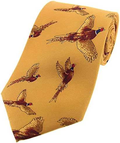 Mustard Flying Pheasants Country Silk Tie by David Van Hagen