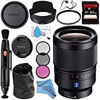 Sony Distagon T FE 35mm f/1.4 ZA Lens SEL35F14Z + 72mm 3 Piece Filter Kit + 64GB SDXC Card + Lens Pen Cleaner + Fibercloth + Lens Capkeeper + Deluxe Cleaning Kit Bundle