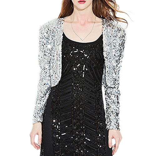 Raylans Women Sequin Costume Cardigan Coat Party Short Jacket Silver