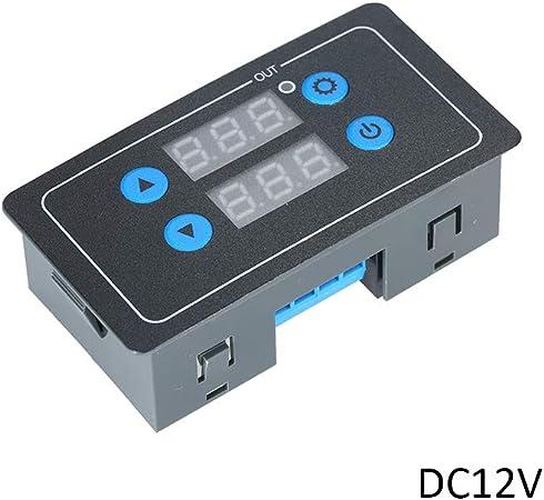 Carte de relais de minuterie num/érique DC12V Double affichage du temps Relais de temporisation r/églable Module relais temporis/é,Baugger