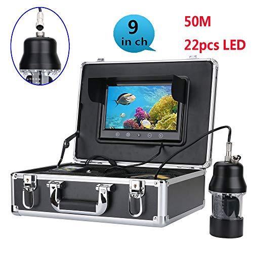 WANGYONGQI 50m Professional Underwater Fishing Video Camera Fish Finder 9 Inch Color Screen Waterproof 22 LEDs 360 Degree Rotating Camera