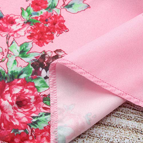Infant Summer Dresses for Girls,Toddler Baby Girls Off Shoulder Floral Print Ruffles Pantskirt Outfits Sets,Girls' Costumes,Multicolor,2-3T Pink by Dsood (Image #3)