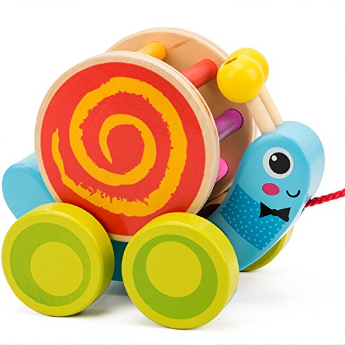 COSSY Wooden Pull Toys for 1 Year Old, Snail Push Toy for Toddler Children Kids