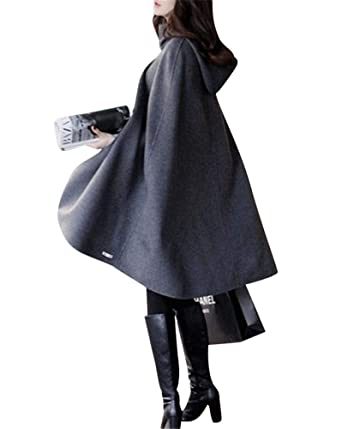sélectionner pour dernier sortie en vente super pas cher Femme Élégant Chaud Hiver Capuche Poncho Cape Mélange de Laine Veste  Manteau à Capuche