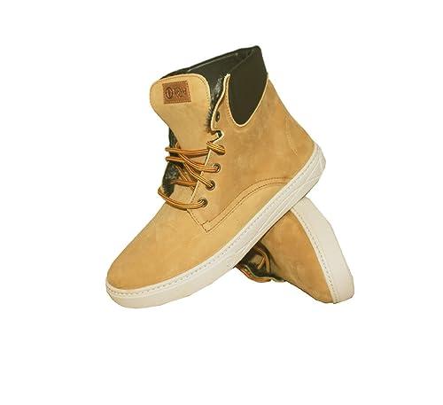 NATURAL WORLD-zapatillas deportivas para hombre, diseño de Bota Alta Nubuck Cuello último 41, Marrón (825-804-ocre), 42: Amazon.es: Zapatos y complementos