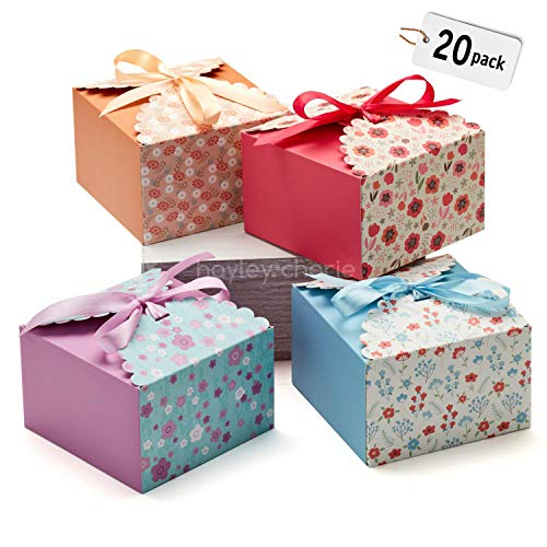 Hayley Cherie Gift Treat Boxes with Ribbons (20 Pack) - Thick 400gsm Card - 5.8 x 5.8 x 3.7 inches - Use for Cakes, Cookies, Goodies, Candy, Party Christmas, Birthdays, Bridesmaids, Weddings