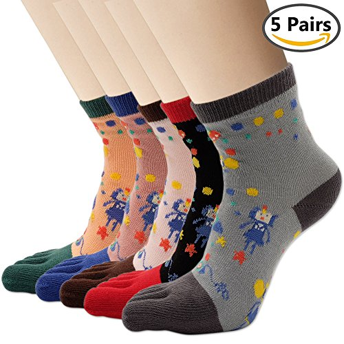 Womens Cartoon Toes Cotton Socks Winter Warm Toe Sock 5 Pair (toe sock, toe-jiqiren) (Winter Socks Toe)