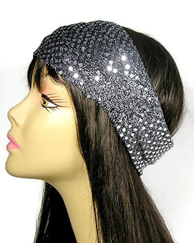 Silver Dot Sequin Mesh Headband Sequin Headwrap Sequin Earwarmer Lined Head Wrap