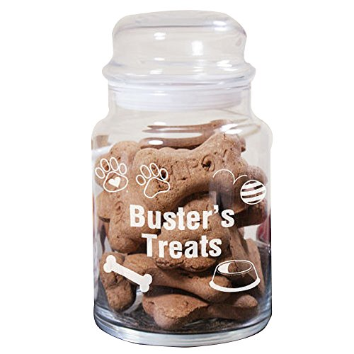 (GiftsForYouNow Personalized Dog Treat Jar, Engraved Glass)