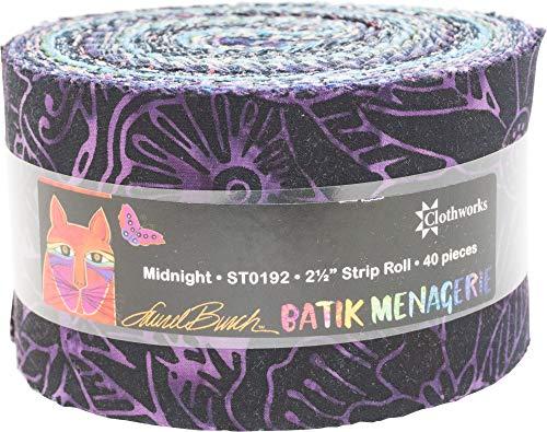 Laurel Burch Batik Menagerie Midnight Strip Roll 40 2.5-inch Strips Jelly Roll - Christmas Batik